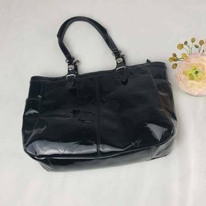Coach Womens Shoulder Bag Black Signature Logo Dua